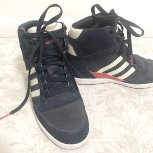 Adidas neo high top suede sneakers blue